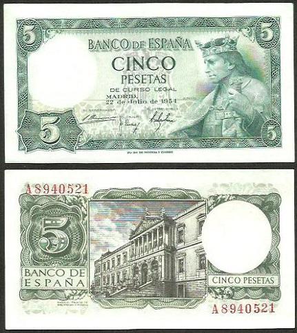 Filatelia y numismática Santos : 5 Pesetas 1954 SERIE